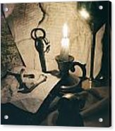 Still Life With Bones Rusty Key Wine Glass Lit Candle And Papers Acrylic Print