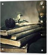 Still Life With Books And Roses Acrylic Print