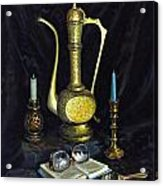Still Life With Brass Vase And Book Acrylic Print