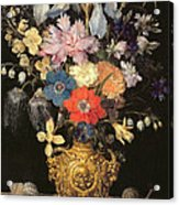 Still Life With Flowers, C.1604 Acrylic Print by Georg Flegel