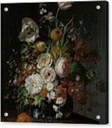 Still Life With Flowers In Glass Vase Acrylic Print