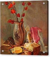 Still-life With Fresh Bread And A Knife Acrylic Print