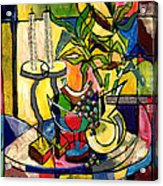 Still Life With Fruit Candles And Bamboo Acrylic Print