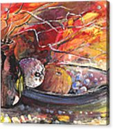 Still Life With Fruits And Vase And Dry Branches Acrylic Print