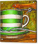 Still Life With Green Stripes And Saddle  Acrylic Print by Mark Howard Jones