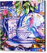 Still Life With  Japanese Plate And Apple Blossom  Acrylic Print
