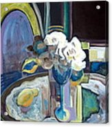 Still Life With Lemon And Two White Roses Acrylic Print by Therese AbouNader