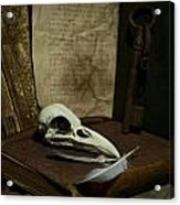 Still Life With Old Books Rusty Key Bird Skull And Feathers Acrylic Print