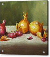 Still Life With Onions And Grapes Acrylic Print