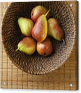 Still Life With Pears And A Rattan Bowl. Acrylic Print by Diane Diederich
