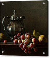 Still Life With Pewter Teapot And Grapes And Pears  Acrylic Print by Diana Amelina