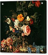 Still Life With Poppies And Roses Acrylic Print