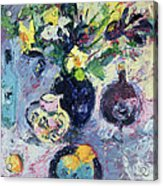 Still Life With Turquoise Bottle Acrylic Print