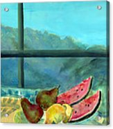Still Life With Watermelon Oil & Acrylic On Canvas Acrylic Print