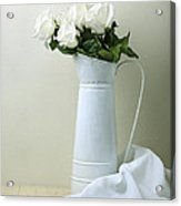 Still Life With White Roses Acrylic Print by Krasimir Tolev