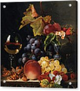Still Life With Wine Glass And Silver Tazz Acrylic Print by Edward Ladell