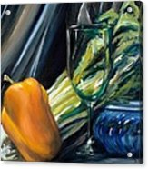 Still Life With Yellow Pepper Bok Choy Glass And Dish Acrylic Print