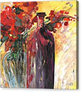 Still Live With Flowers Vase And Black Bottle Acrylic Print