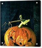 Stingy Jack - Scary Halloween Pumpkin Acrylic Print by Edward Fielding
