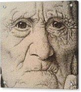 Stippling Of An Old Man Acrylic Print by Lisa Marie Szkolnik