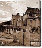 Stokesay Castle Sepia Acrylic Print