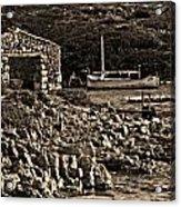 Roman Port Of Sa Nitja In Minorca - Stone And Sea Sephia Version Acrylic Print