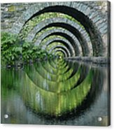 Stone Arch Bridge Over Troubled Waters - 1st Place Winner Faa Optical Illusions 2-26-2012 Acrylic Print