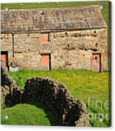 Stone Barn With Red Doors In Swaledale Yorkshire Dales Acrylic Print