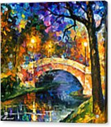 Stone Bridge - Palette Knife Oil Painting On Canvas By Leonid Afremov Acrylic Print