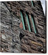 Stone Building Facade With Trefoil Window And Carved Detail Acrylic Print