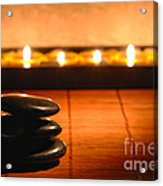 Stone Cairn And Candles For Quiet Meditation Acrylic Print by Olivier Le Queinec