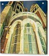 Stone Church Exterior Facade Windows At Night Acrylic Print