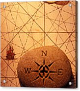 Stone Compass On Old Map Acrylic Print by Garry Gay