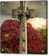 Stone Cross In Fall Garden Acrylic Print