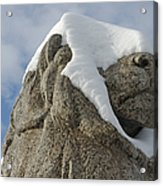 Stone Lion Covered With Snow Acrylic Print