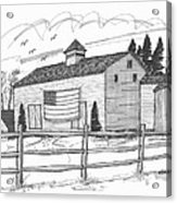 Stone Ridge Barn With Flag Acrylic Print