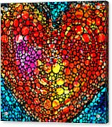Stone Rock'd Heart - Colorful Love From Sharon Cummings Acrylic Print