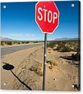 Stop Sign On Indian Ranch Road In Death Valley Acrylic Print