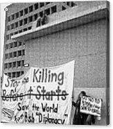 Stop The Killing Say No To Israel Anti-war Protestors Tucson Arizona 1991 Acrylic Print