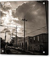 Storm Clouds Over Chartres Street In New Orleans.  Acrylic Print by Louis Maistros
