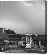 Storm On The Farm In Black And White Acrylic Print