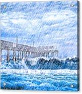 Storm Over The Sea - Tybee Pier Acrylic Print