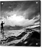 Storm Paddler Acrylic Print by Sean Davey