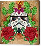 Storm Trooper Sugar Skull Acrylic Print