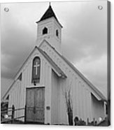 Stormy Church In Black And White Acrylic Print