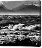 Stormy Coast New Zealand In Black And White Acrylic Print