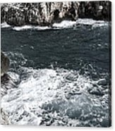 Mediterranean Sea And Rocks Sculpted By Wind And Salt In South Of Menorca Acrylic Print