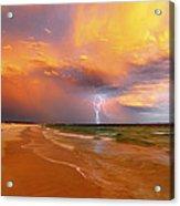 Stormy Skies - Lightning Storm In Esperance Acrylic Print by Sally Nevin