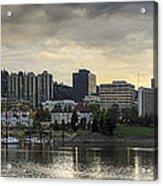 Stormy Sky Over Portland Skyline Panorama Acrylic Print