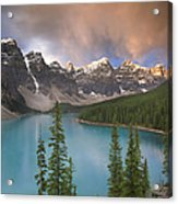 Stormy Weather Over Moraine Lake Acrylic Print